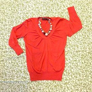 The Limited Orange 3/4 Sleeve V Neck Sweater